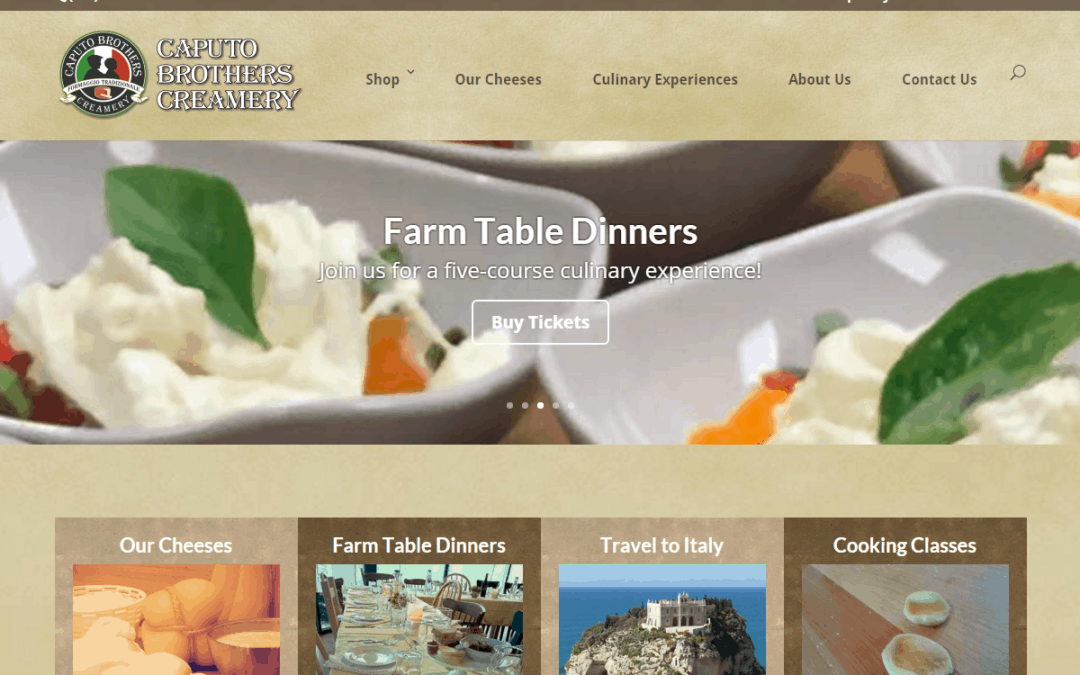 Flash Avenue rebuilds and provides new home for Caputo Brothers Creamery website