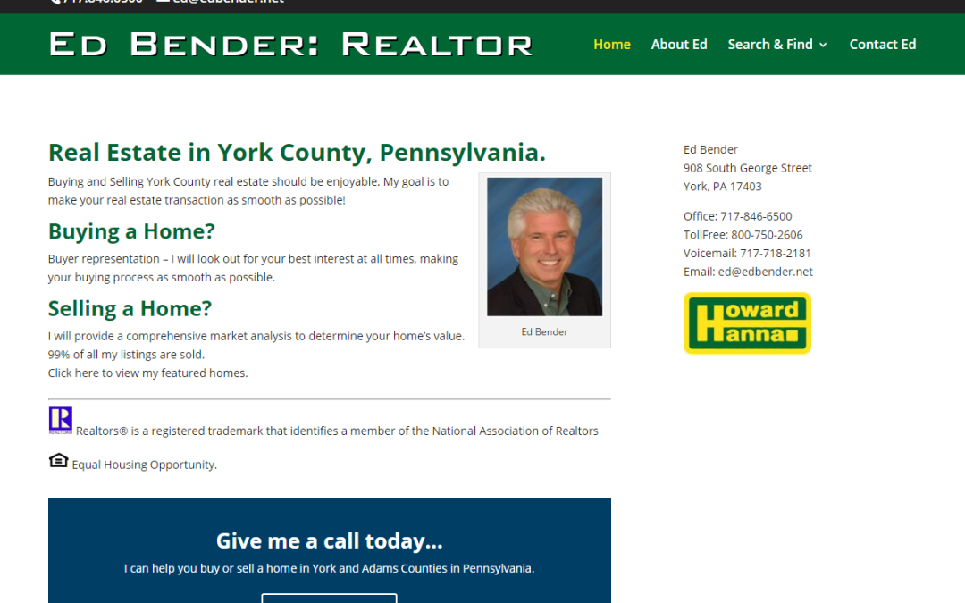 Flash Avenue rebuilds Ed Bender Realtor website to be mobile-friendly